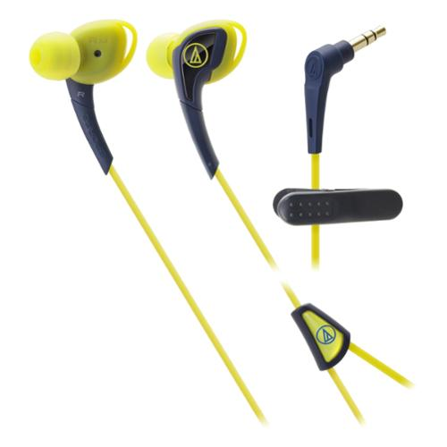 Audio-technica Sonicsport In-ear Headphones - Stereo - Navy, Yellow - Mini-phone - Wired - 28 Ohm - 15 Hz 24 Khz - Gold Plated - Earbud - Binaural - In-ear - 3.94 Ft Cable (ath-sport2ny)
