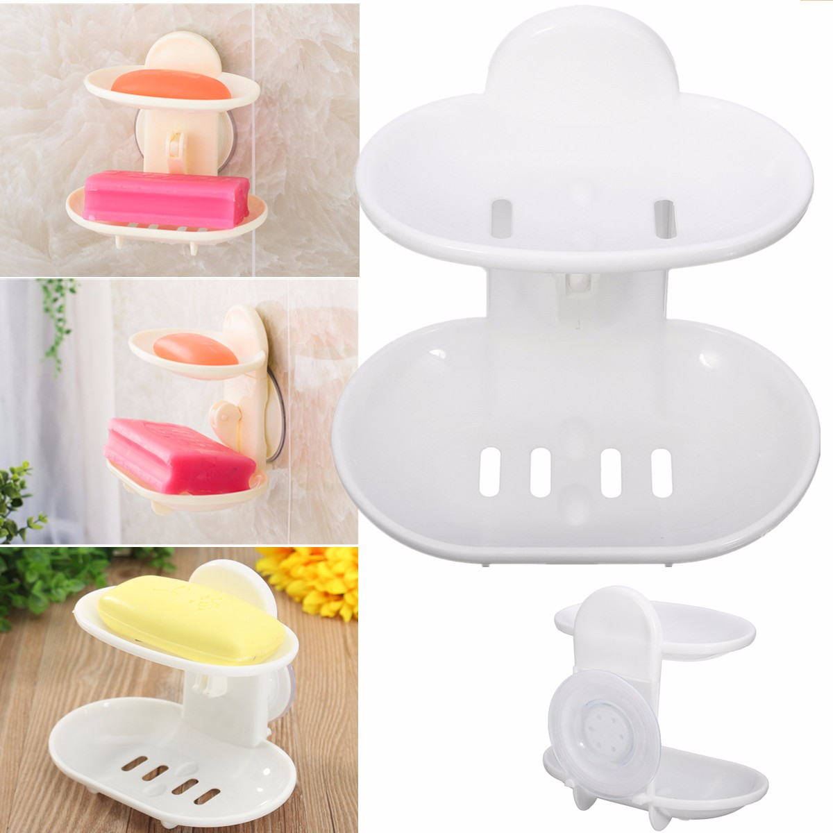 Double Layer Powerful Strong Suction Cup Bathroom Shower Soap Dishes Basket Cup Rack Container Holder Drain Plastic White for Kitchen Bathroom
