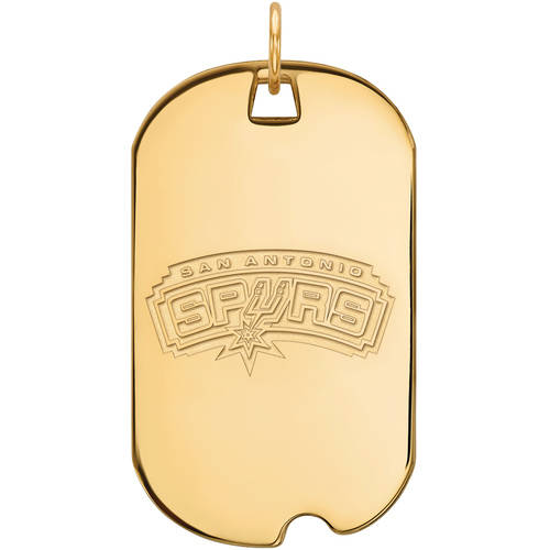 LogoArt NBA San Antonio Spurs 14kt Gold-Plated Sterling Silver Large Dog Tag