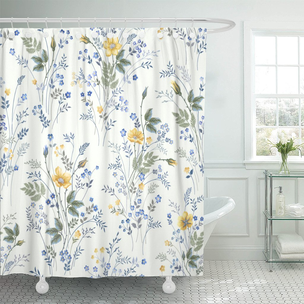 PKNMT Blue Flower Floral Pattern Roses on Yellow Meadow Spring Polyester Shower Curtain 60x72 inches