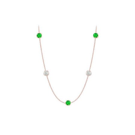 Frosted Emeralds and CZ Necklace on 14K Rose Gold Bezel Set 20.00 ct.tw - image 2 de 2