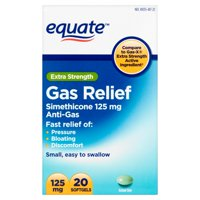 Equate Extra Strength Gas Relief Simethicone Softgels, 125 mg, 20 Ct
