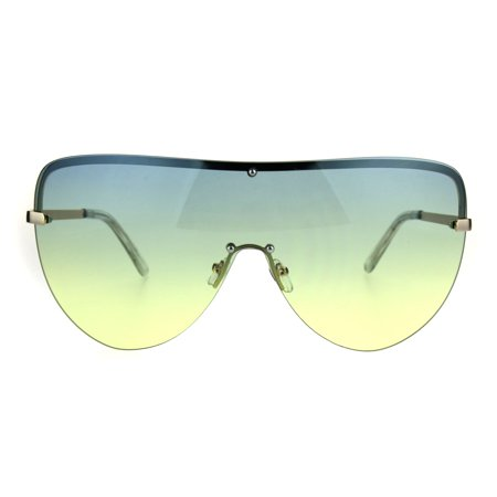 Oceanic Color Gradient Lens Oversize Shield Diva Racer Sunglasses Blue Yellow - Gradient Shield Lens Sunglasses