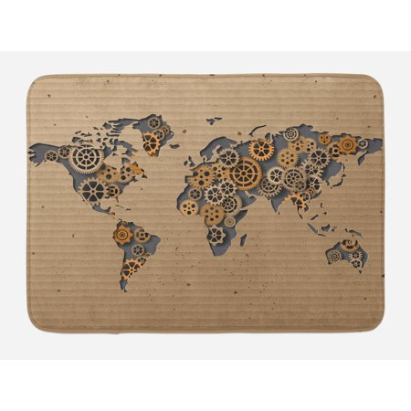 - Modern Bath Mat, Ancient Old Hipster Contemporary Image of World Map with Clock Wheel Art Print, Non-Slip Plush Mat Bathroom Kitchen Laundry Room Decor, 29.5 X 17.5 Inches, Grey and Brown, Ambesonne