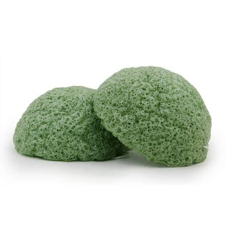 Bebevisa Set of 2 Half Ball Konjac Sponge face scrubber (Green Tea Facial Konjac)