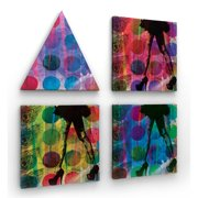Red Noir Feather Dancing 4 Piece Framed Graphic Art on Wrapped Canvas Set