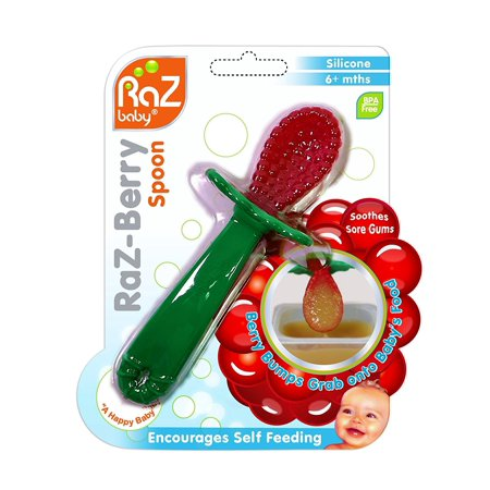RaZ-Berry Baby Spoon / Baby's First Spoon / 100% Silicone, Berry Bumps Silicone Spoon helps your baby to develop self-feeding skills with ease and confidence By Razbaby,USA
