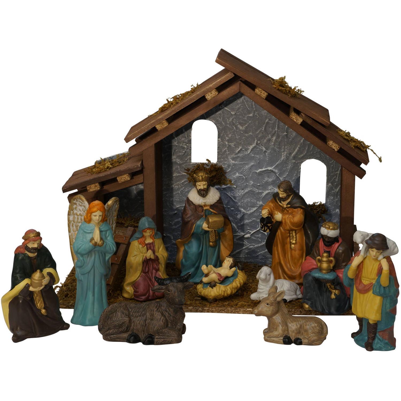 holiday time christmas decor 13 pieces nativity set walmart