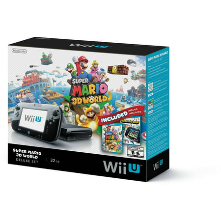 Refurbished Nintendo WUPSKAGF 32GB Black Wii U Console Super Mario 3D World/Nintendo Land