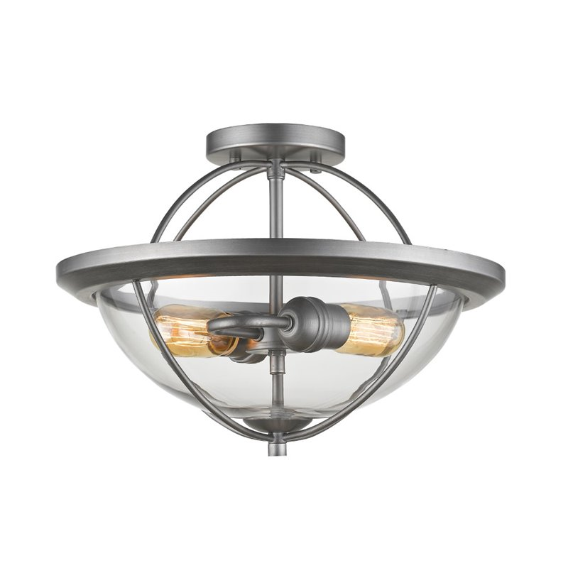 Z Lite Persis 2 Light Semi Flush Mount In Clear And Old Silver