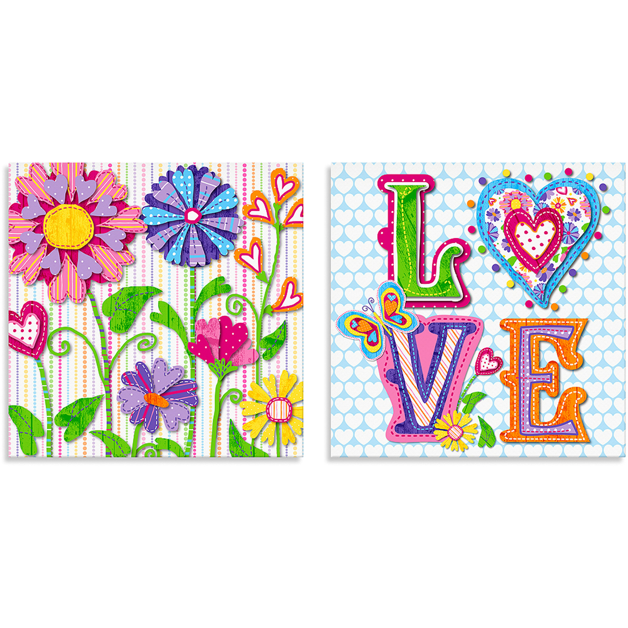 Oopsy Daisy Too Hearts Canvas Wall Art, Flowers, Set of 2
