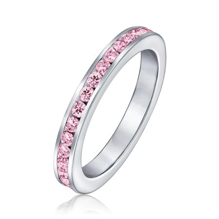 - Silver Simulated Pink Tourmaline CZ October Birthstone Ring