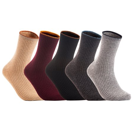 Lian LifeStyle Women's 4 Pairs Wool Blend Crew Socks Size 7-10 Casual HR1612 Random