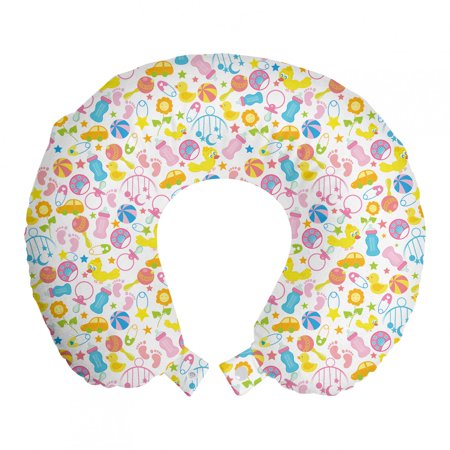 """Baby Travel Pillow Neck Rest, Assortment of Infant Items Toys Footprints Milk Bottles Flower Arrangement Design, Memory Foam Traveling Accessory Airplane and Car, 12"""", Multicolor, by Ambesonne"""