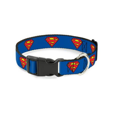 Buckle-Down Superman Shield Blue Plastic Clip Collar, Narrow Medium/7-13