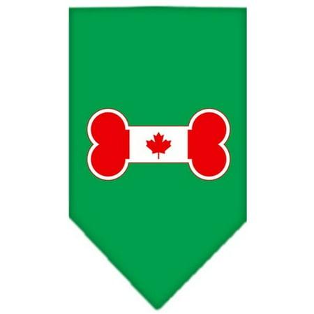 Bone Flag Canadian  Screen Print Bandana Emerald Green Large - Green Bandanna
