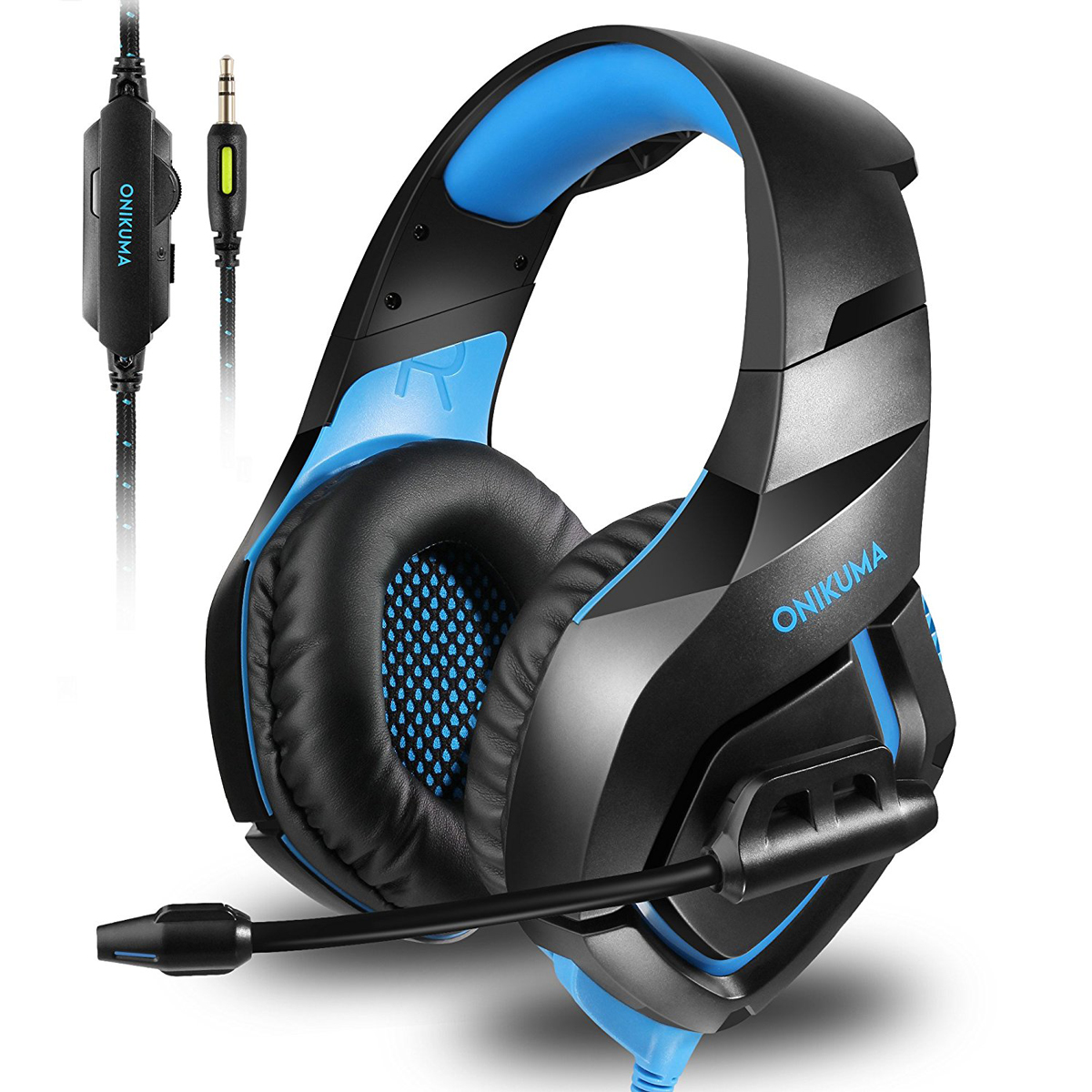 ONIKUMA Stereo Gaming Headset Over Ears Headset With Noise Canceling Microphone for PC, PS4, XBOX ONE, IPAD And Laptop Computer