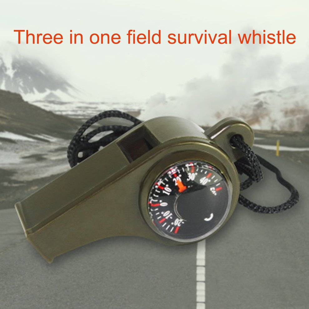 Durable Plastic -20-50 Degrees Celsius 3 in1 Olive Green Whistle Compass Thermometer For Outdoor Emergency Gear Camping Survival by
