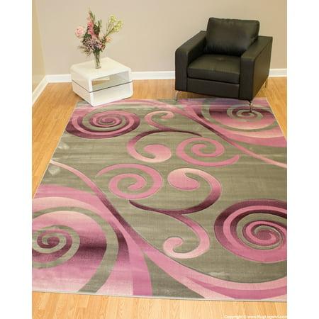 Rug Legend Modern High Quality Hand Carved Area Rug 8x11 Carpet 4099 Grey Pink (Hot Pink Carpet)