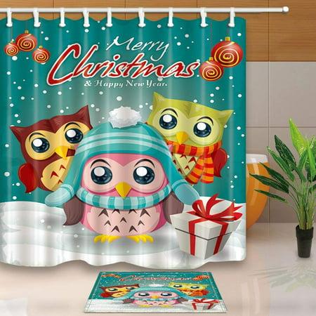 Artjia Christmas Cartoon Owl And Gift Box On Snow Shower