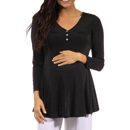 Women's Long Sleeve Three Button Maternity Henley Tunic Top