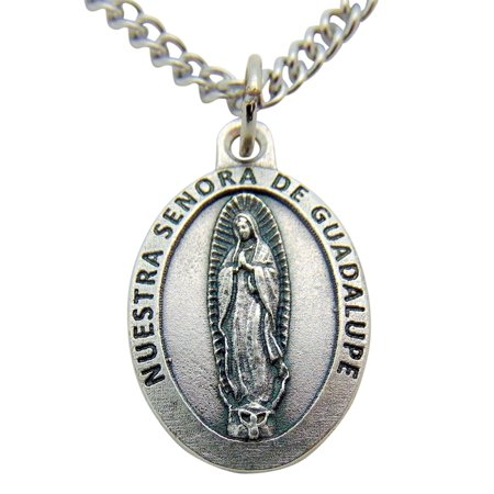 Nuestra Senora De Guadalupe (Our Lady of Guadalupe) Medal 3/4 Inch Metal Pendant with Chain