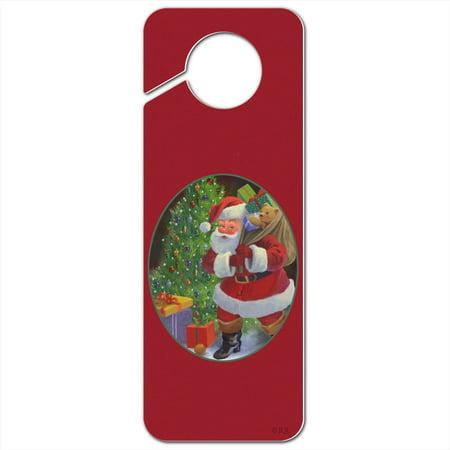 Christmas Holiday Santa Bag of Toys Tree Plastic Door Knob Hanger Sign - Image (Door Knob Hanger Cat Toy)