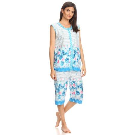 5026C Womens Capri Set Sleepwear Cotton Pajamas - Woman Sleeveless Sleep Nightshirt Blue # 58 L Cotton Sleeveless Capri Pajama