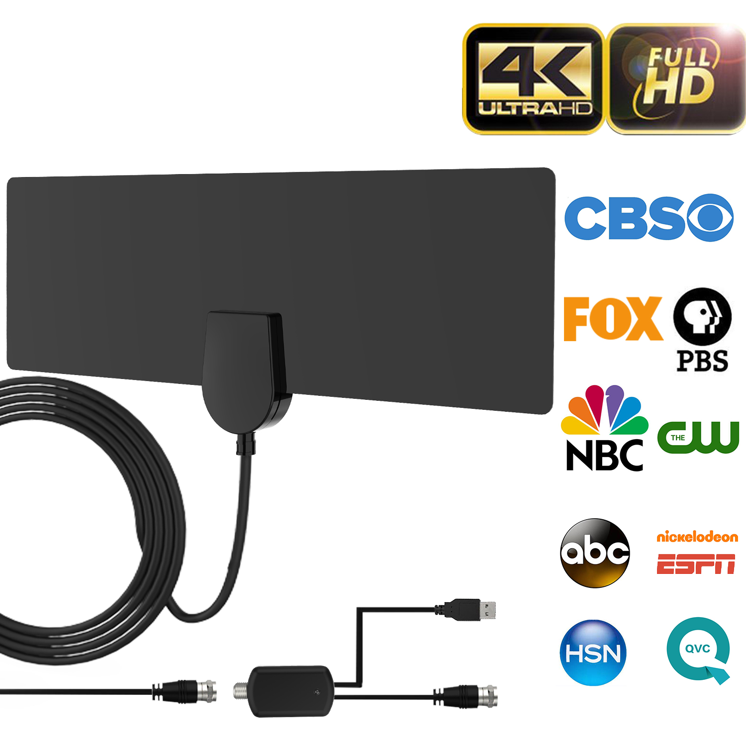 Updated 2019 Version HDTV Antenna,Universal Indoor Digital HDTV Antenna Amplified 50 Miles Range with Amplifier Signal Booster 4K HD VHF UHF Freeview for Life Local Channels for Home Smart Television