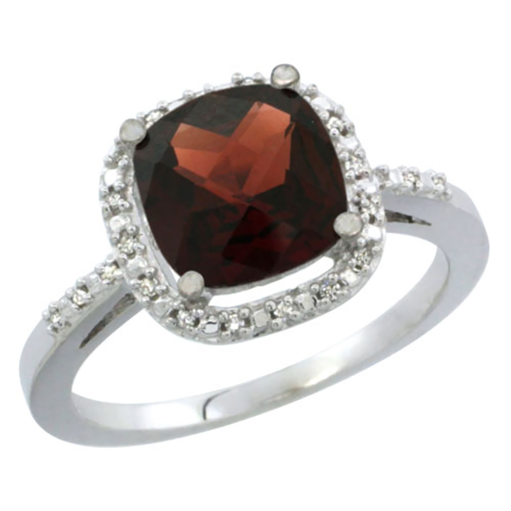 10K White Gold Natural Garnet Ring Cushion-cut 8x8mm Diamond Accent, sizes 5-10 by WorldJewels