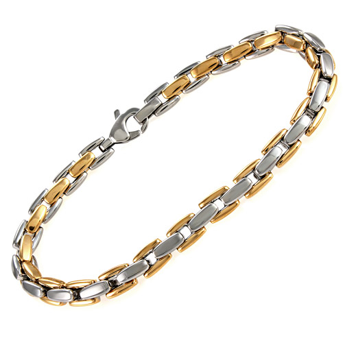 """Men's Yellow and White Stainless Steel H-Link Bracelet, 8.5"""""""
