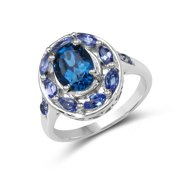 Malaika 2.23 Carat Genuine London Blue Topaz & Tanzanite .925 Sterling Silver Ring Size-7, Blue