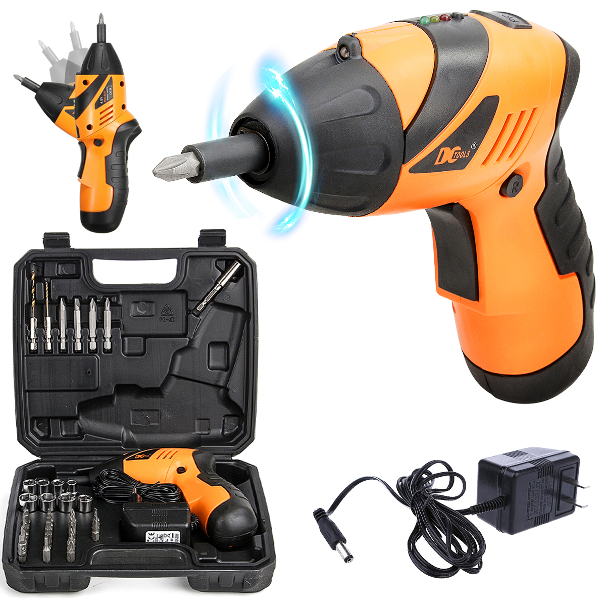 with 33 drills Autoday 3.6V Smart 6 Modes Adjustable Torques Cordless Rechargeable Screwdriver Tool Kits Bosch Electric Screwdriver Blue