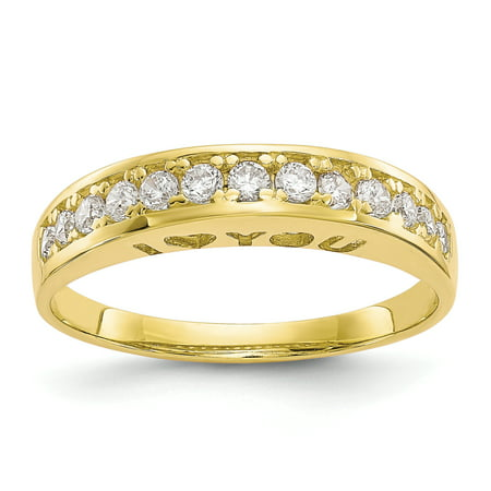 10k Yellow Gold I Love You Forever Cubic Zirconia Cz Band Ring Size 7.00 S/love Fine Jewelry For Women Gift Set ()