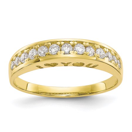 10k Yellow Gold I Love You Forever Cubic Zirconia Cz Band Ring Size 7.00 S/love Fine Jewelry For Women Gift (Contemporary Gold Ring)