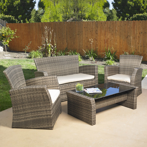 Mission Hills Redondo 4 Piece Lounge Seating Group with Cushion