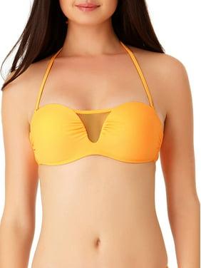 No Boundaries Juniors' Solid Mesh Bandeau Swim Bikini Top