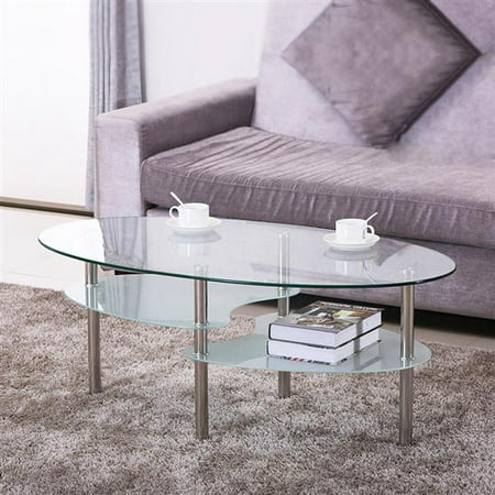Yaheetech 3 Tier Modern Living Room Oval Glass Coffee Table Round ...