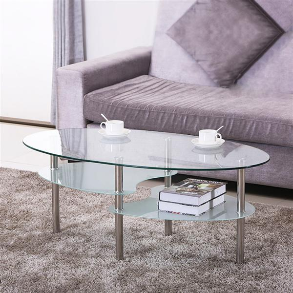 Yaheetech 3 Tier Modern Round Glass Top Cocktail Coffee Table Living Room Oval Glass Side End Table with Chrome Finish Metal Base/Legs Furniture