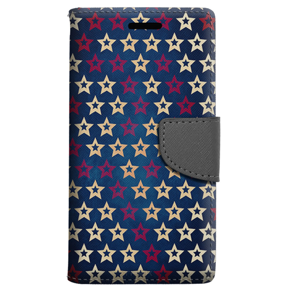 ZTE Grand X 3 Wallet Case - Patriotic White and Red Stars on Blue Case