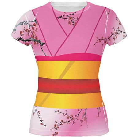 Halloween Pink Kimono Costume All Over Juniors T Shirt](Kimono Geisha Costume)