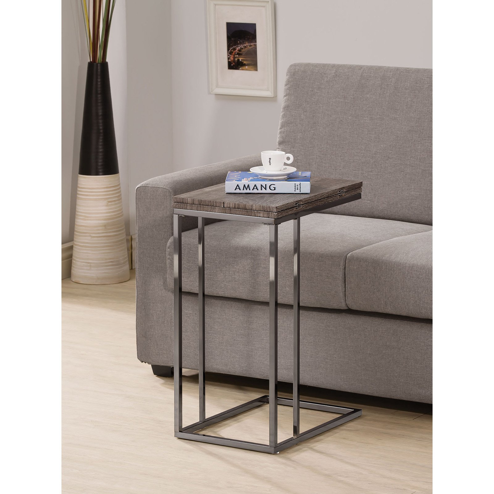 Coaster Furniture Weathered Grey Flip Top End Table Walmart