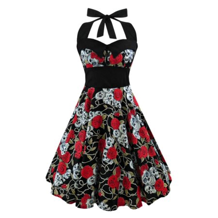Babula Women Gothic Skull Printed Party Swing Dress 1950s 74s Vintage Rockabilly Style Dress (Gothic Masquerade Dresses)