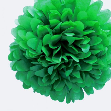 Quasimoon EZ-FLUFF 8'' Dark Green Tissue Paper Pom Pom Flowers, Hanging Decorations (4 Pack) by PaperLanternStore - Pom Pom Flowers Name
