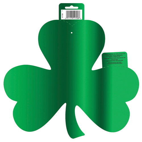 Foil Paper Cutout Shamrock St. Patrick's Day Decoration, 16 x 12.75 in, Green, 1ct