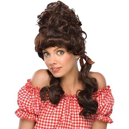Long Brown Curly Wig Halloween (Mary Ann Gilligan Island Brown Farm Girl Country Long)