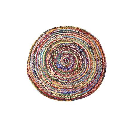 Round Cotton Multicolor Braided Handwoven Reversible Area