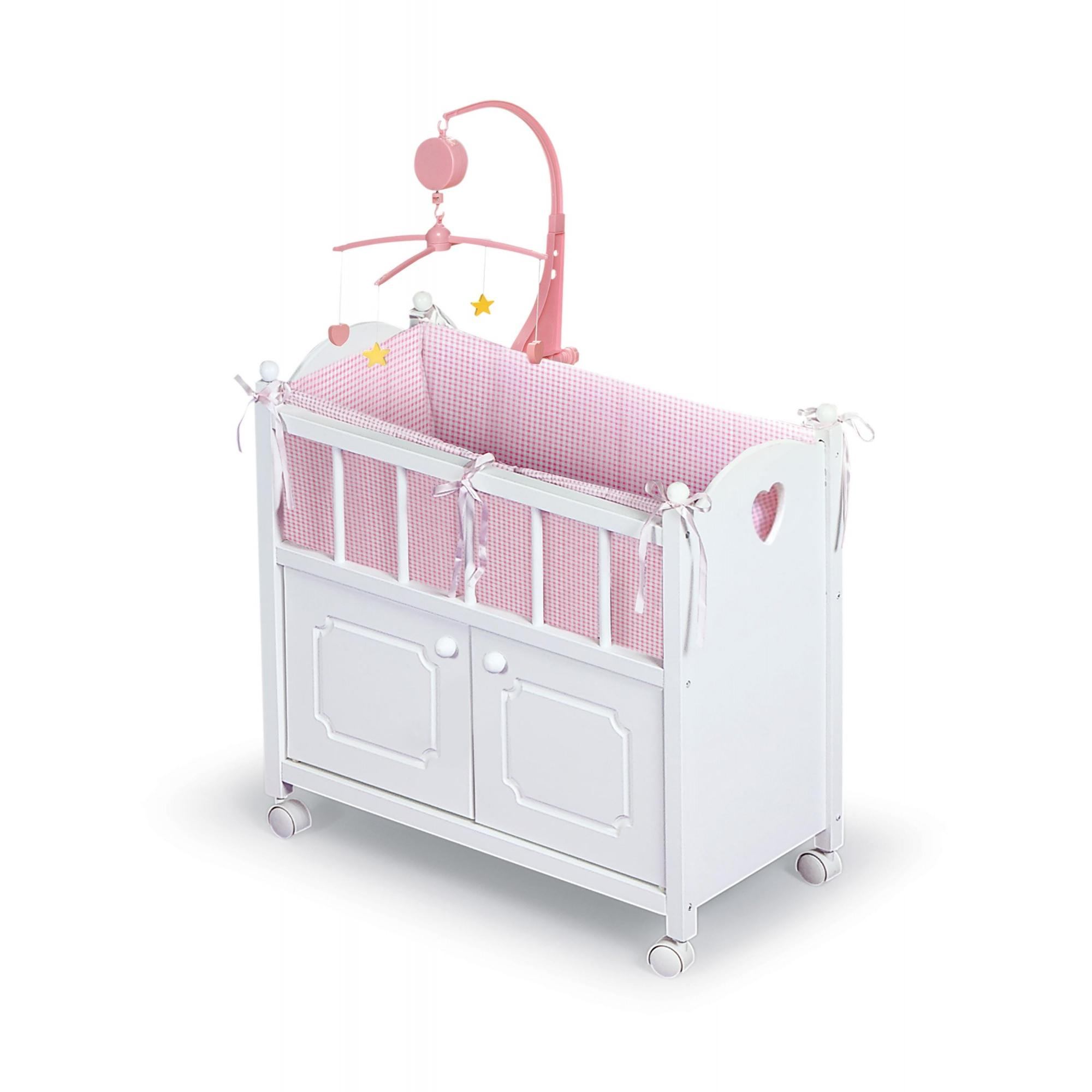 """Badger Basket Doll Crib with Cabinet, Bedding and Musical to Mobile Fits Most 18""""... by Badger Basket Company"""