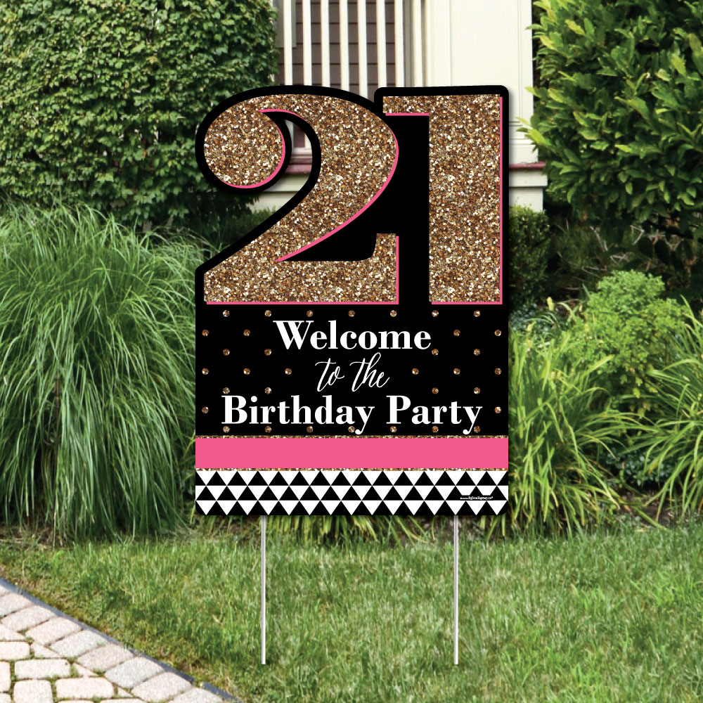 Chic Happy Birthday - Pink, Black and Gold - Party Decorations - Birthday Party Welcome Yard Sign