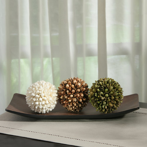 Elegant Expressions by Hosley Decorative Tray and Orbs Giftset, Floral, Set of 3